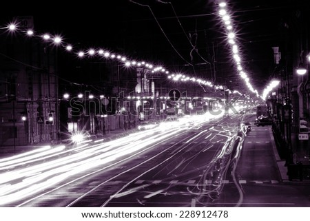 Lights of the big city. Monochrome photography  - stock photo