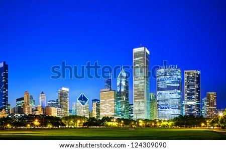Lights of the downtown Chicago, IL in the evening - stock photo