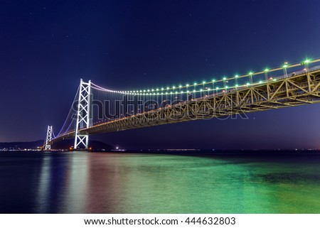 Lights on Akashi Ohashi Bridge in Kobe, Japan - the longest suspension bridge in the world.