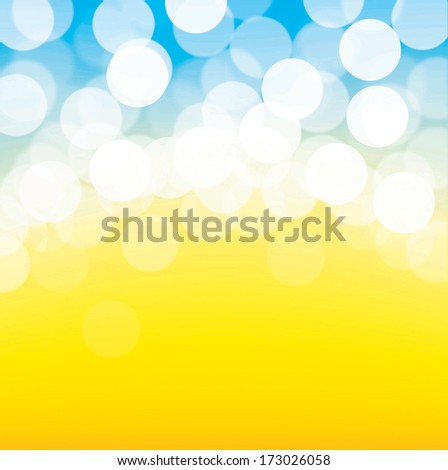 Lights On Blue And Yellow Background.