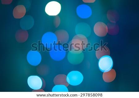Lights on blue background. Blurred LED lights - stock photo