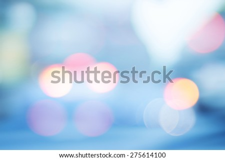 Lights On Blue Background, Bright Blue Abstract Christmas Background With White Snowflakes - stock photo