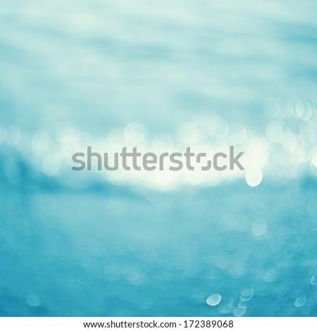 Lights on sea background.Waves.Underwater.Vintage style. - stock photo