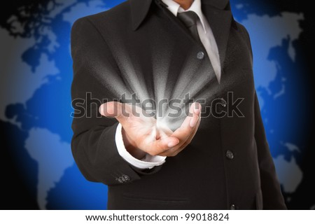 Lights on the business hand - stock photo