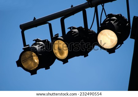 lights  outdoor concert - stock photo