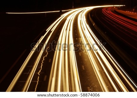 lights trails cars in europe-2 - stock photo