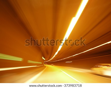 lights tunnel driving  - stock photo