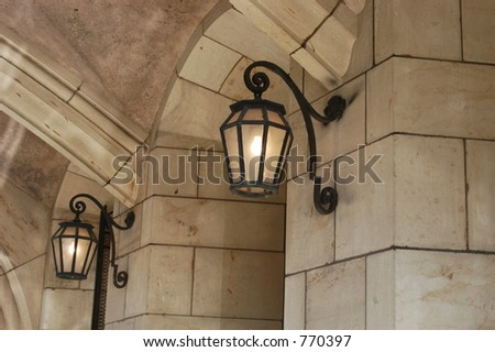 Lights under high street - stock photo