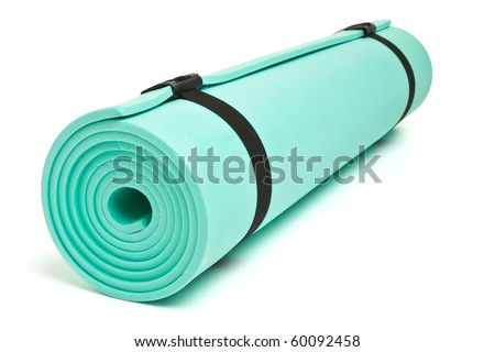 Lightweight foam Camping Bed roll isolated on white. - stock photo