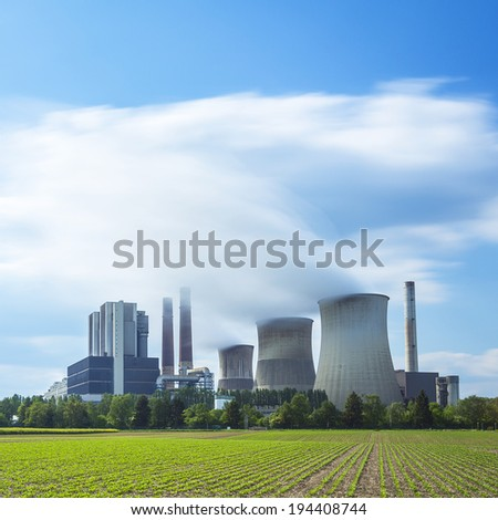 lignite-fired power plant with cloudy sky