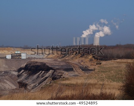 Lignite power plant in the background with
