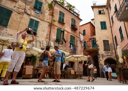 LIGURIA/ITALY - May 28,2012 : Unidentified torists walk in the Monterosso, one of the village in Cinque Terre
