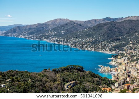 Ligurian coast over Camogli, Genoa, Italy, in a sunny day