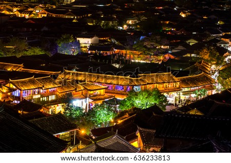 Lijiang, China - April 10,2017 : Bird eye view of local historical architecture roof building of Old Town of Lijiang in Yunnan, China.