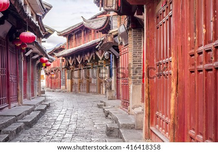 Lijiang old town in the morning , Yunnan ,China