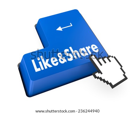 like and share button , social media - stock photo