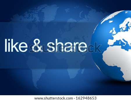 like and share concept with world globe on blue background