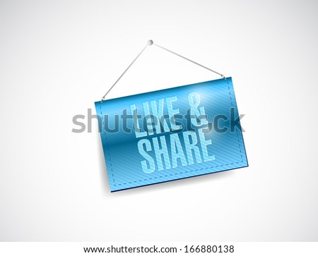 like and share sign hanging banner illustration design over a white background - stock photo