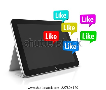 like and tablet 3d facebook, like, twitter, social media - stock photo