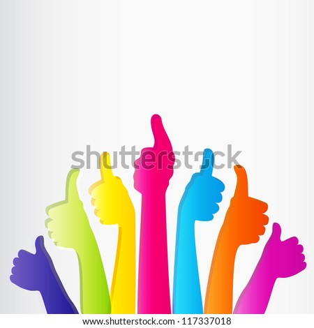 Like and Thumbs Up symbol. Abstract background. - stock photo