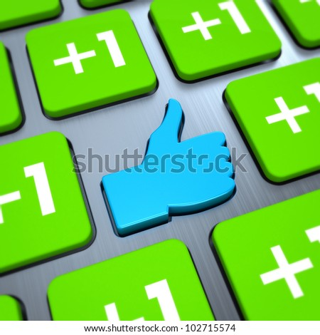 Like button on keyboard, 3d render