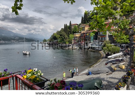 Like Como, Italy, 24 april 2014, Spring landscape on Lake Como, Like Como, Italy, 24 april 2014 - stock photo