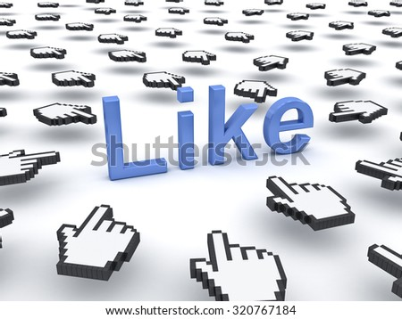 Like concept many hand cursors clicking like button or link on white background - stock photo
