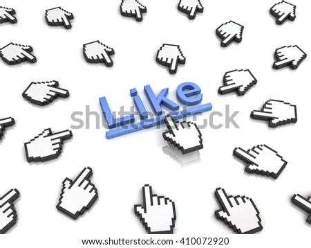 Like concept many hand cursors mouse clicking like button or link on white background with reflection. 3D rendering. - stock photo