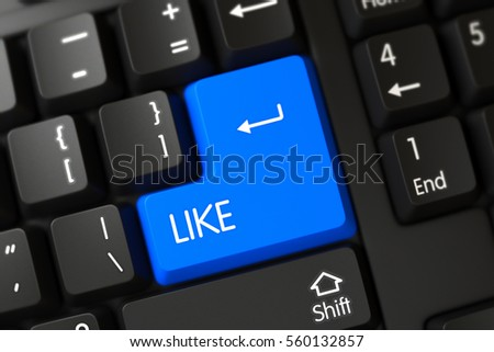 Like Concept: Modern Laptop Keyboard with Selected Focus on Blue Enter Keypad. 3D Render.