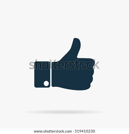 LIKE - hand. Flat web icon or sign on grey background with shadow. Collection modern trend concept design style illustration symbol - stock photo