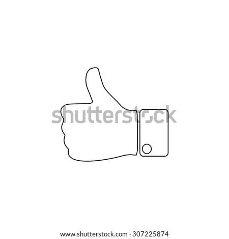 LIKE - hand. Outline black simple symbol - stock photo