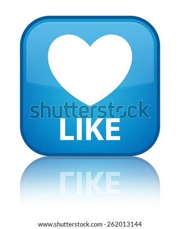 Like (heart icon) cyan blue square button - stock photo