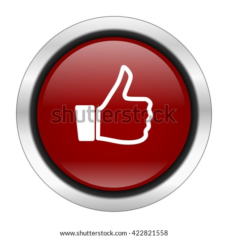 like icon, red round button isolated on white background, web design illustration