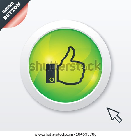 Like sign icon. Thumb up sign. Hand finger up symbol. Green shiny button. Modern UI website button with mouse cursor pointer. - stock photo