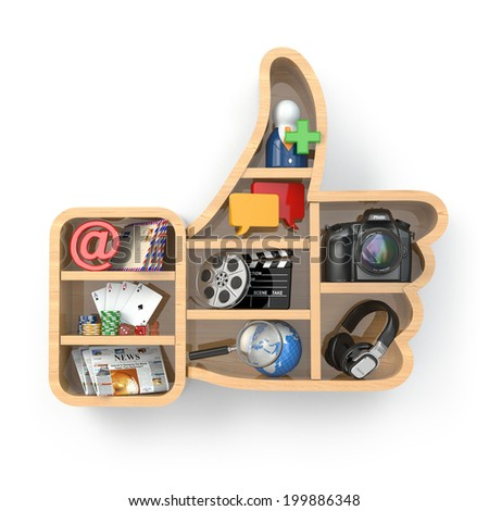Like. Social media concept. Thumb up and apps icons .3d - stock photo