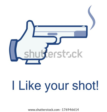Like/thumb up icon/hand hold smoking gun. Isolated on white background.