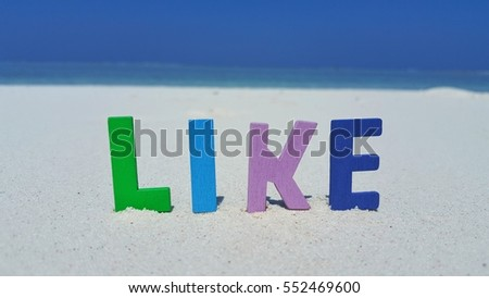 Like word text on the beach background