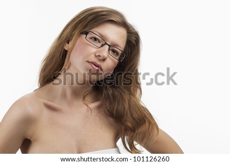 Likeable spectacel wearer with flowing long hair - stock photo