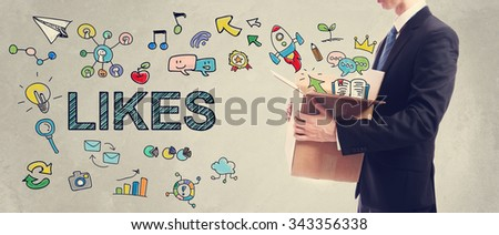 Likes concept with businessman holding a cardboard box - stock photo