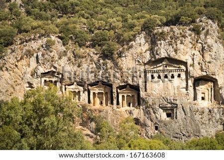 Likijsky tombs on the river Daljan, Turkey - stock photo