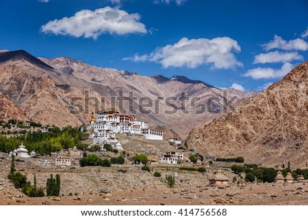 Likir Gompa Tibetan Buddhist monastery in Himalayas, Ladakh, Jammu and Kashmir, India - stock photo