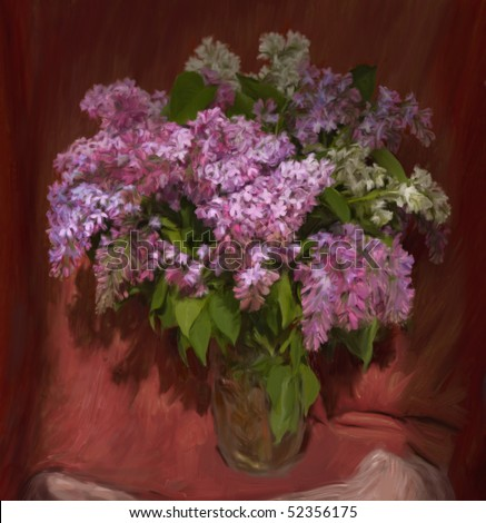 Lilac bouquet in a glass vase, my own painting - stock photo