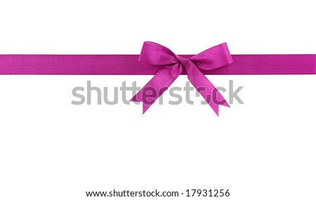 Lilac bow isolated on white background