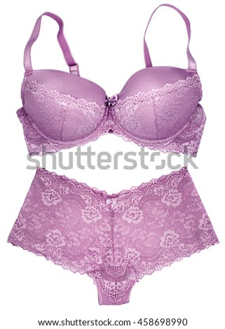 Lilac bra and panties lingerie set isolated on white background.