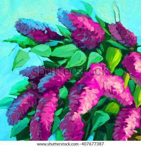 lilac bush blooming, oil painting on canvas, illustration