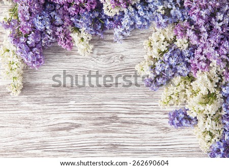 Lilac Flowers Bouquet on Wooden Plank Background, Spring Purple Blooming Bunch, Branch over Wood Texture - stock photo