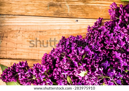 Lilac flowers on wooden planks background useful as greetings card, invitation cards, valentines cards, wedding invitation and postcards with place for text. - stock photo
