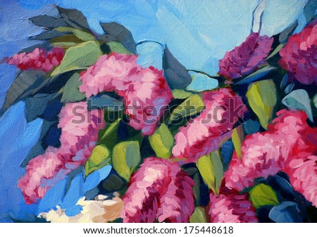 lilac flowers, painting by oil on canvas,  illustration - stock photo