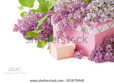 Lilac flowers with present box isolated on white background with sample text - stock photo
