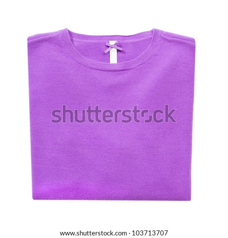 Lilac folded woman knitted blouse on white isolated